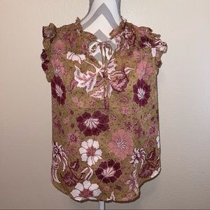 NWT Joie Chartreuse & Purple Floral Split Neck Ruffle Sleeve Textured Top Medium
